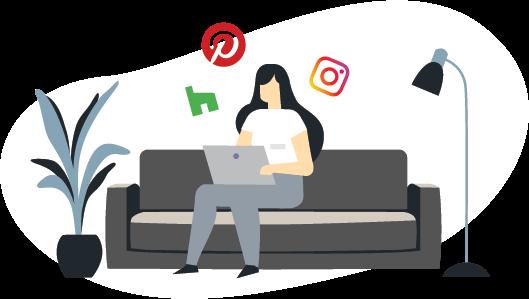 woman on laptop ilustration